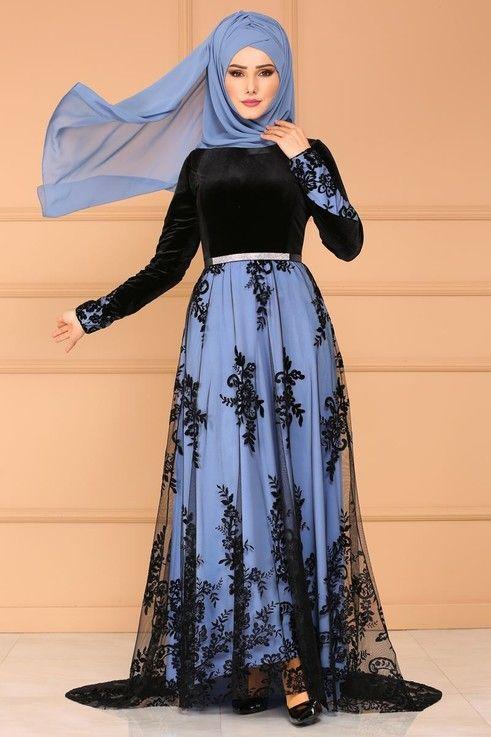 Modaselvim Abiye Flok Detay Kadife Abiye Pn2014 Bebe Mavisi Islami Moda Moda Stilleri Abaya Tarzi