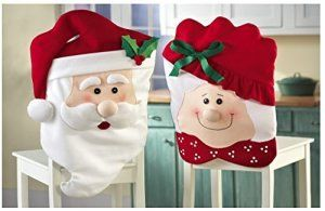 Mr & Mrs Santa Claus Christmas Kitchen Chair Covers 54X44cm. Visit http://bestnewweboffers.com #Christmas, #Gifts, #Decorations