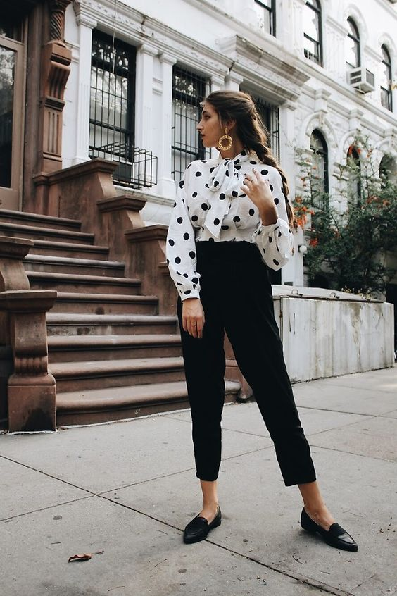 H&M Polka Dot Blouse, Zara Cigarette Pants, Bcbg Black Loafers styled by Elly Leavitt in Polka Dot Blouse—see looks like this and more on LOOKBOOK.