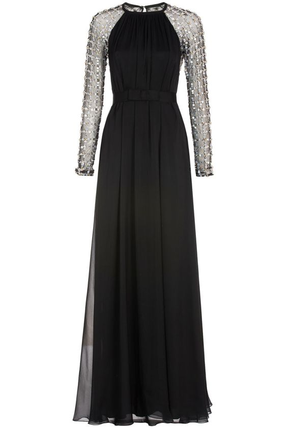 BLACK Long Angeli Lattice Gown