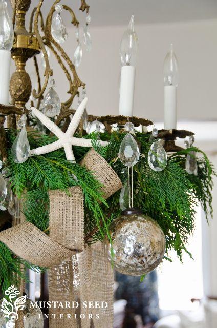 beachy Christmas chandelier