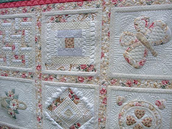 Marg's sampler quilt, via Flickr.