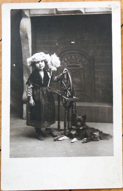 1927 Realphoto Postcard: Spinning Wheel, Girl & Her Dog