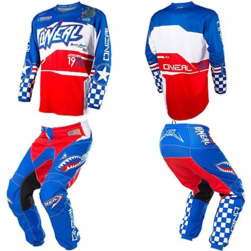 O Neal Element Afterburner Blue Red White Motocross Mx Off Road Dirt Bike Jersey Pants Combo Riding Gear Set Pants W34 Jersey X Large Car Accessories Onli Youth Dirt Bike Gear Riding Gear Bike