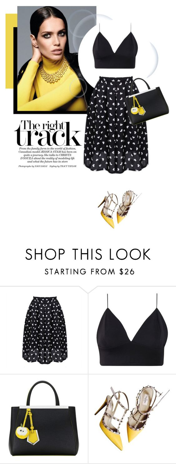 """Hearts On My Skirt"" by luvsassyselfie ❤ liked on Polyvore featuring мода, Fendi, Valentino, yellow и black"