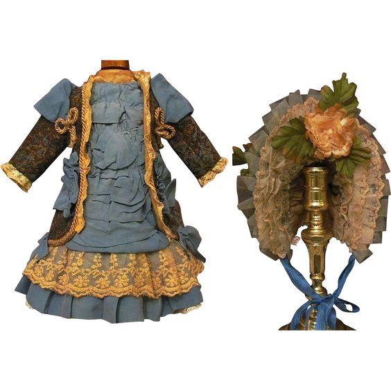 "Velvet Jacket Dress Bonnet Fits French bebe 18-19 1/2"" from antiquedollplace on Ruby Lane"