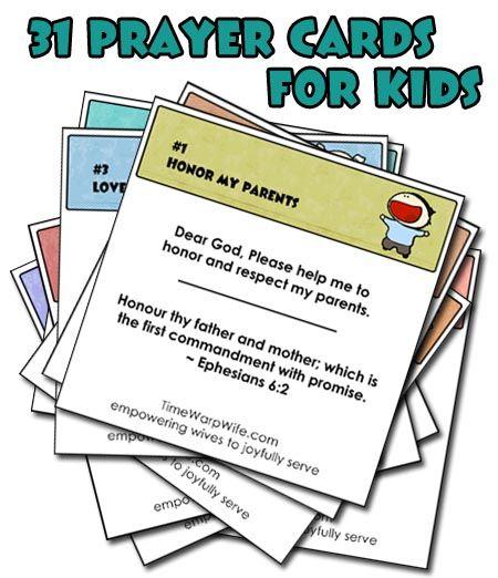 Free Printable! 31 Prayer Cards for Kids - Time-Warp Wife   Time-Warp Wife
