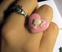 Pink Heart Barbie Cameo Adjustable Ring