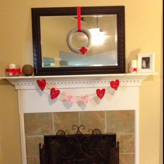 Valentine's mantel decoration