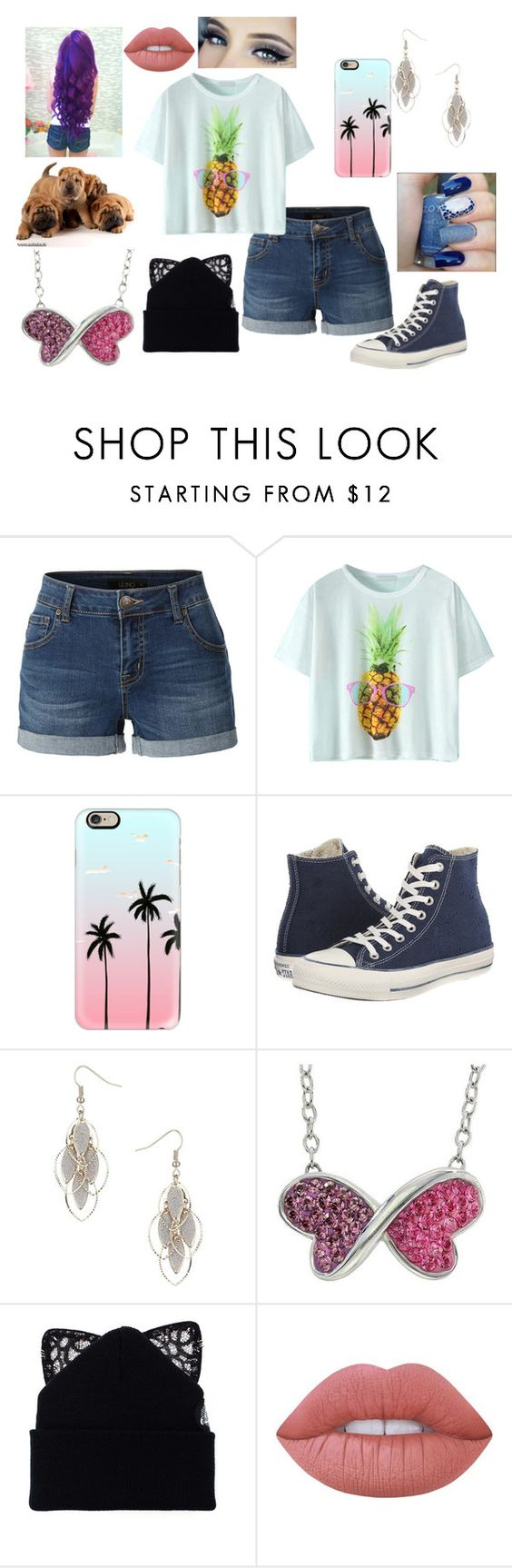 """A Outfit"" by jordanbond55 ❤ liked on Polyvore featuring LE3NO, Casetify, Converse, Wallis, Target, Silver Spoon Attire and Lime Crime"