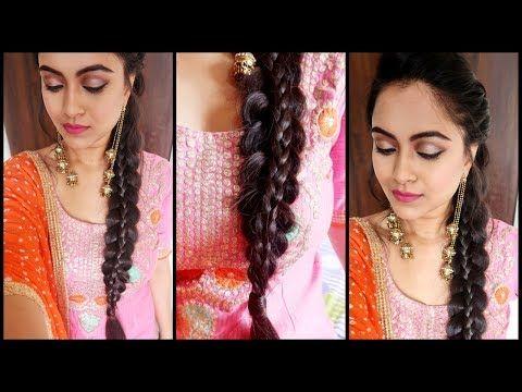 Supereasy Braid Hairstyle Punjabi Braid Look For Indian Party Wedding Guest Youtube Punjabi Hairstyles Guest Hair Wedding Guest Hairstyles