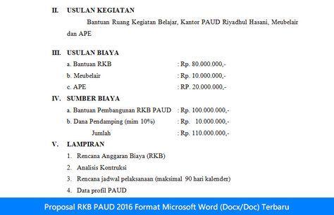 Proposal Rkb Paud 2016 Format Microsoft Word Docx Doc Terbaru Microsoft Proposal Words