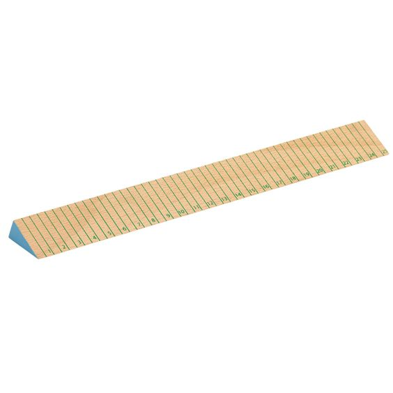 Wooden ruler, thin green stripes, by Hay.