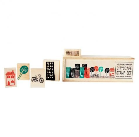 Your little city slicker can put his urban stamp on anything with this wooden kit. $30
