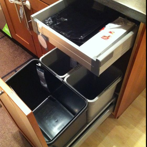 Trash can cabinet solution at ikea kitchens pinterest for Ikea trash cans