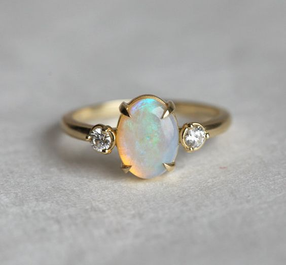 simple opal engagement rings and diamonds on