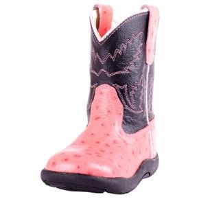 Old West Infant Round Toe Pink and Black Tubbie Cowgirl Boots