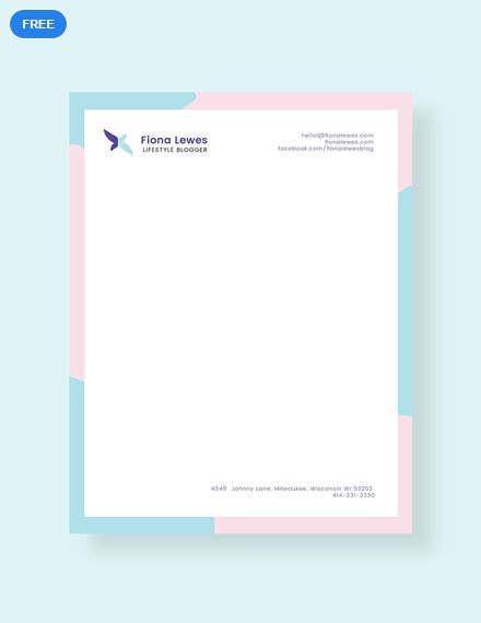 Free Personal Letterhead Template Pdf Word Psd Apple Pages Illustrator Publisher Letterhead Template Letterhead Design Letterhead