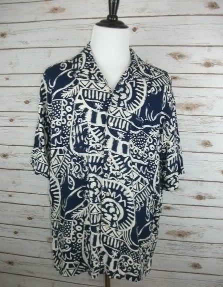 GUESS Men's Short Sleeve Button Front Shirt Aztec 100% Cotton NWOT Size XL #GUESS #ButtonFront