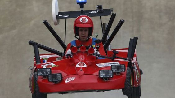 Crazy Mario Kart Cosplay Features...Famous Race Driver - Sebastian Vettel the defending Formula 1 world champ