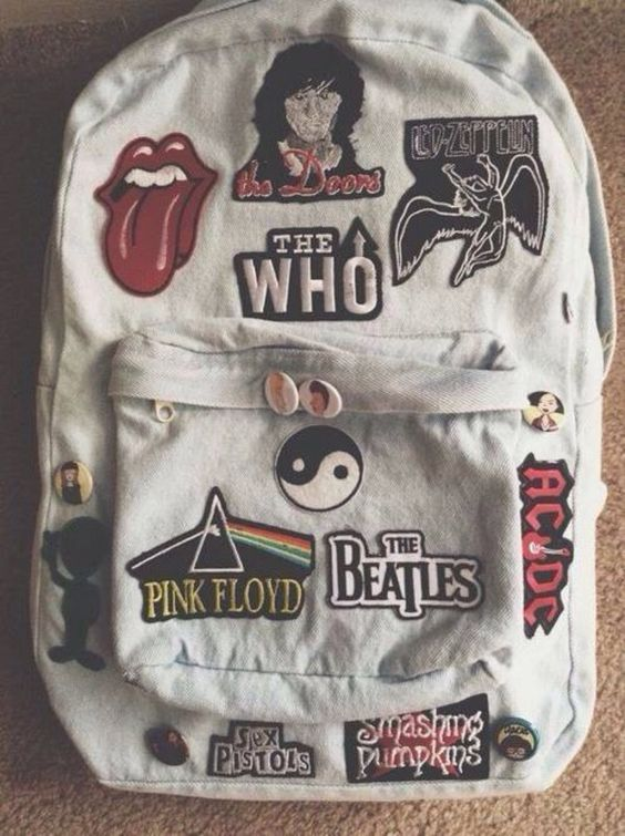 90s grunge denim backpack with band stickers - Google Search