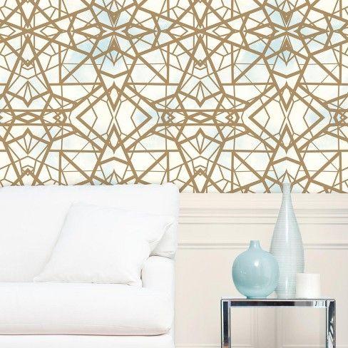 Roommates Shatter Geometric Peel Stick Wallpaper Gold Roommate Decor Peel And Stick Wallpaper Vinyl Wallpaper