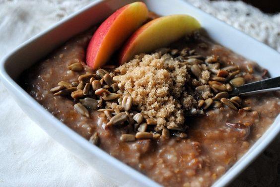 crock pot apple cinnamon steel cut oatmeal for breakfast!