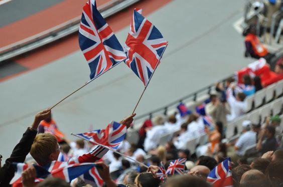 Athletics stadium, British flags