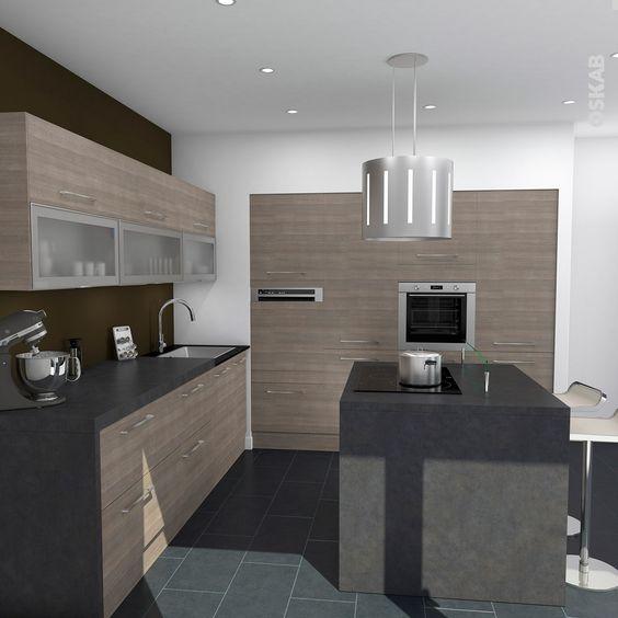 Maison Contemporaine Cube D Architectes : Cuisine contemporaine bois naturel, implantation en L avec ilot