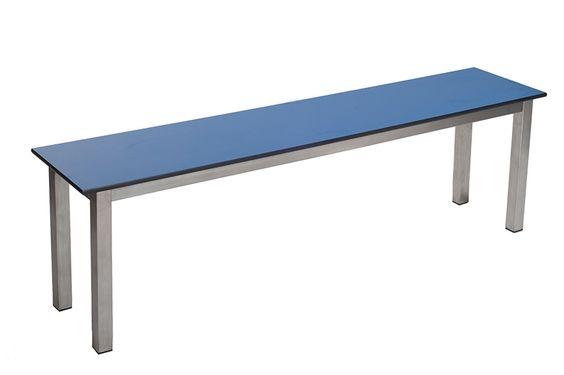 ST15 Stainless steel Aqua basic freestanding basic bench with blue laminate seat