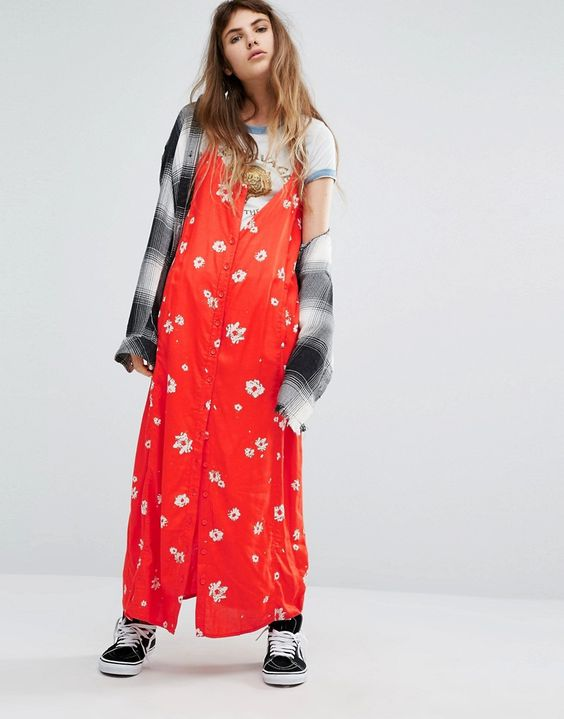Bild 1 vonObey Button Front Slip Dress With Racer Back And Floral Print