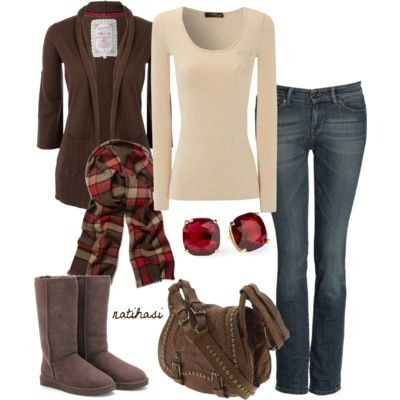 Green and beige Fall Outfit - Polyvore     Love all of this except the boots