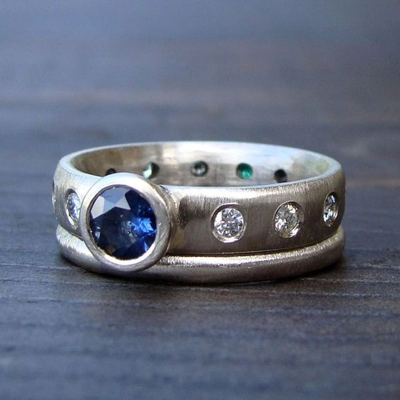 Fair Trade Sapphire and Recycled 14k Palladium White Gold Engagement and Wedding Rings by McFarland Designs