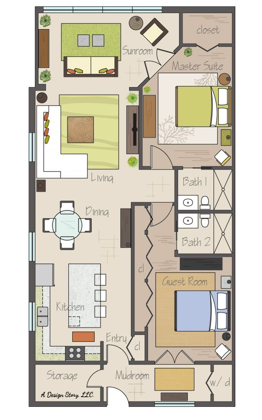 Awesome small floor plan! Practically two suites, and separated by their  bathrooms. Plus a sunroom and an open concept. | Tiny houses | Pinterest |  Small ...