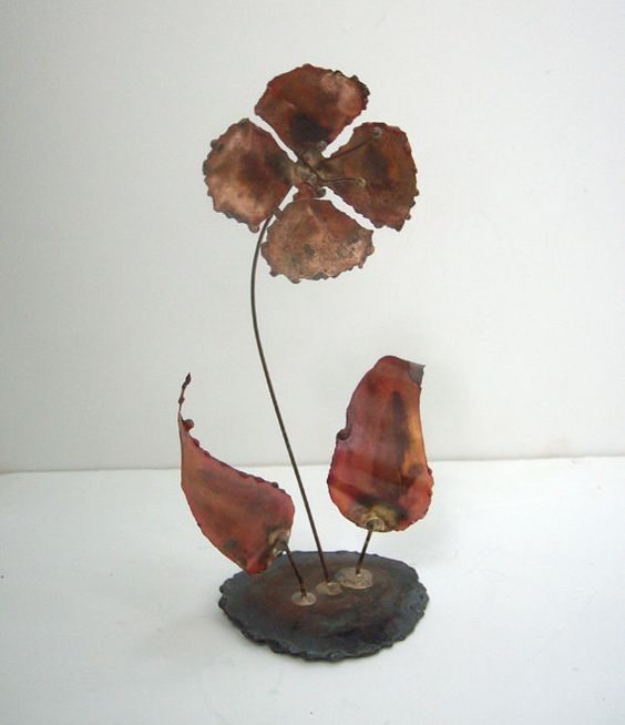 Mid Century Metal Flower Sculpture Brutalist by Modernera on Etsy, $24.00