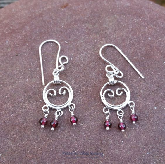 Garnet Earrings Sterling Silver Wire Wrapped Gemstone Earrings January Birthstone Jewelry by PeacefulVibesJewelry on Etsy
