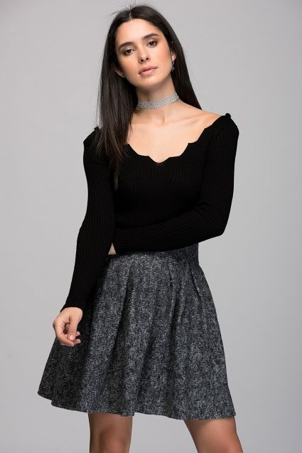 Women's Smoked Back Zippered Volleyed Short Skirt