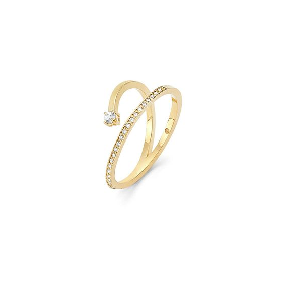 14k Gold Pave Diamond Ring with White Sapphire