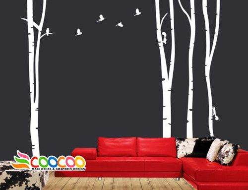 Wall Decor Decal Sticker Large Birch Tree Trunk Forest | eBay