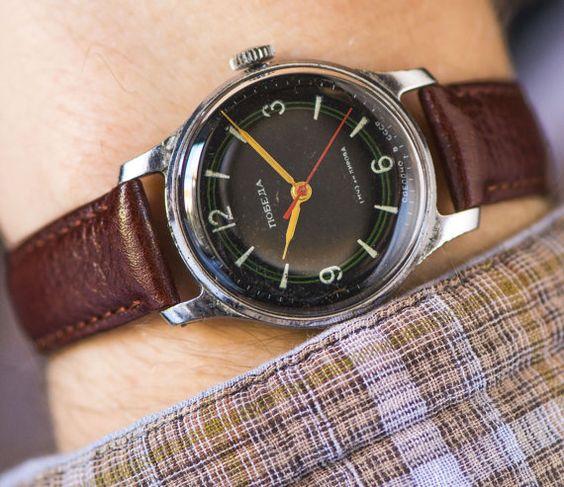 Mid century wristwatch Pobeda men's watch rare black by SovietEra