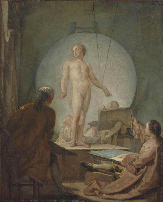 GABRIEL-JACQUES DE SAINT-AUBIN (PARIS 1724-1780) L'Académie de dessin huile sur toile 59,9 x 48,4 cm. (23 5/8 x 19 in.)