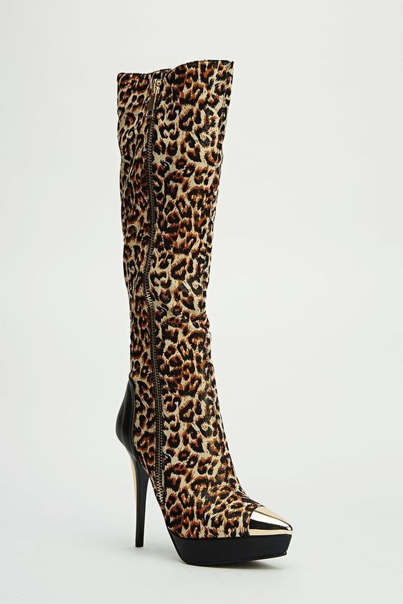 Womens Ladies Leopard Print High Heel Knee High Boots Size UK 4,5,6,7,8 New  Click On Link To Visit My Ebay Shop http://stores.ebay.co.uk/all-about-feet  Useful Info:  - Standard Size - Standard Fit - By Sergio Todzi - Leopard Print - Heel Height: 5 Inches - Platform: 1 Inch  - Inner Side Zip Fastening - Outer Side Zip Is Decorative Doesn't Go Up Or Down - Gold Metal Plate To Toe - Gold metal Detail To Heel  - Glitter To Upper - Textile Upper - Leopard Print Textile Lining #boots…