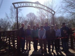 """""""It was a 'we' project,"""" said Rose Stepnick, crediting the community for enabling the recreation board to get the bridge. """"I am so proud of this project and everybody that did it with us."""" #ligoniervalleytrail  (Photo by Jennifer Sopko)"""