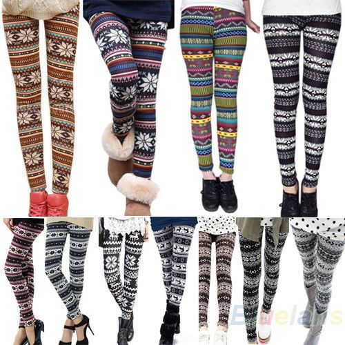 Patterned Stylish Womens Colorful Knitted Leggings Tights Pants Stockings BD4U