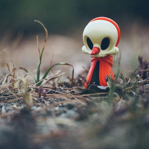 "BAIT's exclusive ""Orange Cloaked"" Greeter Wandering Misfit mini figure!"