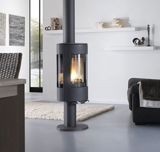 po le bois turbo fonte callisto 2 en fonte gris. Black Bedroom Furniture Sets. Home Design Ideas