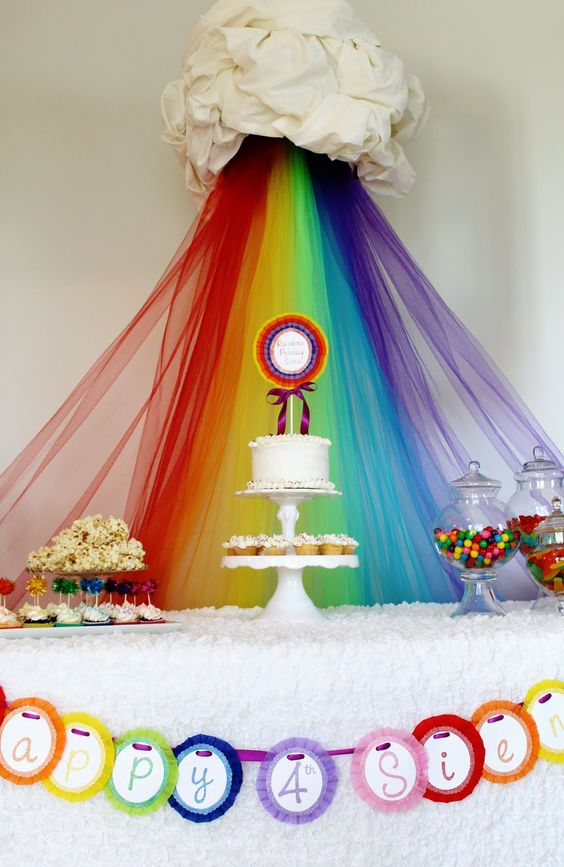 Candy Land or Rainbow Party Theme Ideas.  Hang Multiple Bright Colored Strips of Tulle, Organza or Chiffon Fabric. Create & decorate your main table, centerpiece, table scape & backdrop to match your theme.  DIY kids Birthday Party Rainbow & Cloud Inspiration.