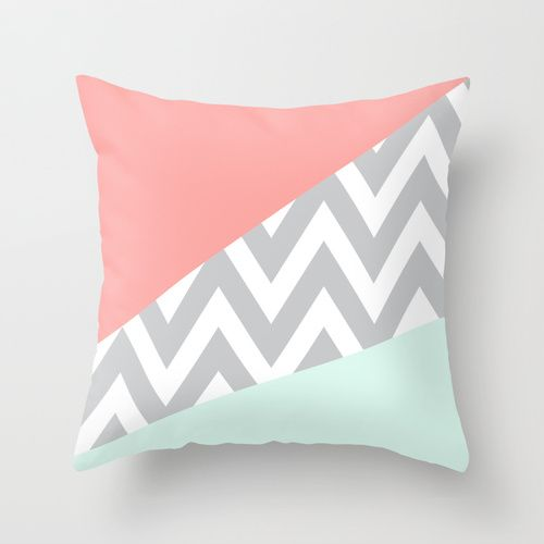 mint throw pillow | Mint & Coral Chevron Block Throw Pillow by daniellebourland | Society6 Nice idea for colours for nursery