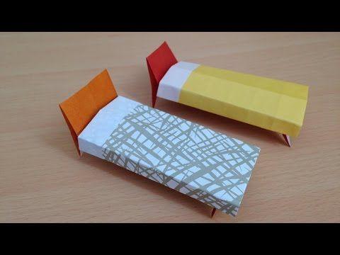 折り紙 ベッド 簡単な折り方 Origami Bed For Dollhouse Youtube