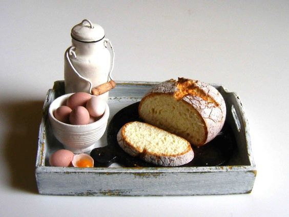 Bread, milk and egg tray - Miniature in 1:12 by Erzsébet Bodzás, IGMA Artisan: